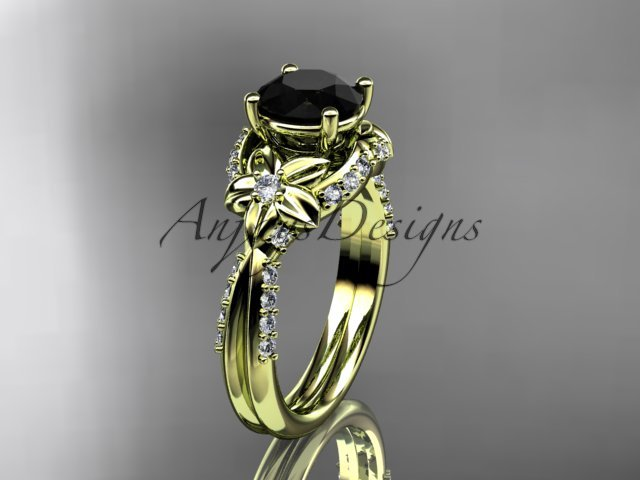 14kt yellow gold diamond wedding ring, engagement ring with a Black Diamond center stone ADLR220