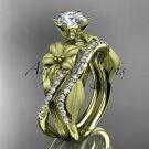 Unique 14kt yelow gold diamond flower, leaf and vine wedding ring, engagement set ADLR221S