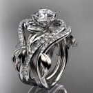 Platinum  diamond wedding ring,Moissanite, center stone and double matching band ADLR222S