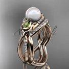 14kt rose gold diamond pearl, tulip unique engagement set AP226S
