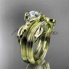 Unique 14kt yellow gold diamond floral engagement set ADLR324S