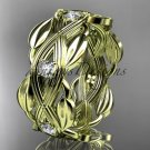 14kt yellow gold leaf wedding ring, wedding band ADLR259B