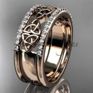 14kt rose gold celtic trinity knot wedding band, brIdal ring CT7406B