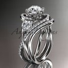 Unique platinum  diamond engagement set, wedding ring ADLR320S