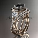 Unique 14kt rose gold diamond engagement set with a Black Diamond center stone ADLR320S