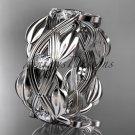 14kt white gold leaf wedding ring, wedding band ADLR259B