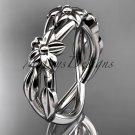 Platinum  leaf and flower engagement ring, wedding band ADLR204G