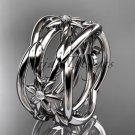 14kt white gold leaf and vine, flower wedding ring,wedding band ADLR352B