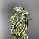 14kt yellow  gold diamond leaf and vine wedding ring, engagement set ADLR68S