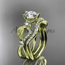 14kt yellow gold diamond leaf and vine engagement set with Moissanite center stone ADLR68Syellow