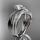 14kt white gold diamond leaf and vine wedding ring, engagement set ADLR78S