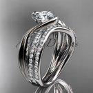 Platinum diamond leaf and vine engagement set with a Moissanite center stone ADLR78S