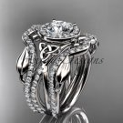 14kt white gold celtic trinity knot engagement ring with a Moissanite center stone CT789S