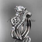 14kt white gold celtic trinity knot engagement set, wedding ring CT768S