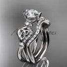 14kt white gold celtic trinity knot engagement set with a Moissanite center stone CT768S