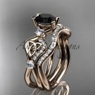 14kt rose gold celtic trinity knot engagement set with a Black Diamond center stone CT768S