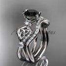 Platinum  celtic trinity knot engagement set with a Black Diamond center stone CT768S