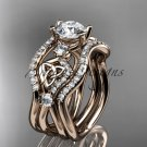 14kt rose gold celtic trinity knot engagement ring,Moissanite , double matching band CT768S