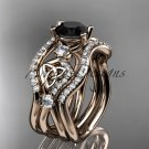 14kt rose gold celtic trinity knot engagement ring,Black Diamond, double matching band CT768S