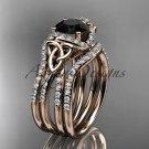 14k rose gold diamond celtic trinity knot wedding ring,Black Diamond,double matching band CT7155S