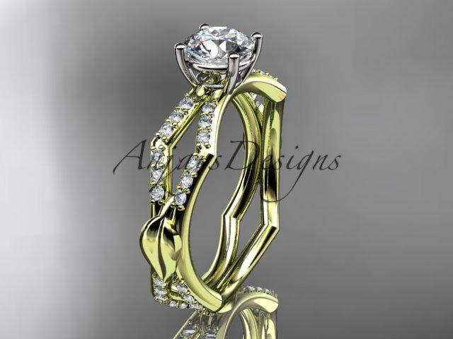 14k yellow gold diamond leaf and vine engagement ring with a Moissanite center stone ADLR353