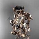 14kt rose gold diamond celtic trinity knot engagement ring, Black Diamond CT7215S
