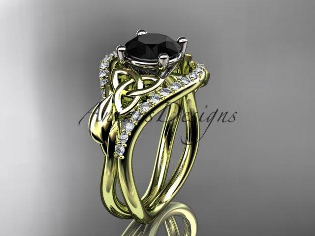 14kt yellow gold diamond celtic trinity knot engagement ring, Black Diamond CT7244