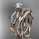 14k rose gold diamond leaf and vine engagement set with a F Moissanite center stone ADLR353S