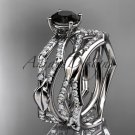 14k white gold diamond leaf and vine  engagement set with a Black Diamond center stone ADLR353S