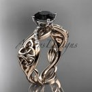 14kt rose gold diamond celtic trinity knot engagement ring with a Black Diamond center stone CT7270