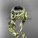 14k yellow gold diamond celtic trinity knot engagement ring with a Black Diamond center stone CT7300