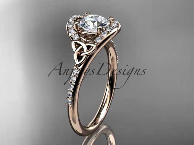 14kt rose  gold diamond celtic trinity knot engagement ring with a Moissanite center stone CT7317