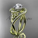 14kt yellow gold diamond celtic trinity knot engagement ring with a  Moissanite center stone CT7320