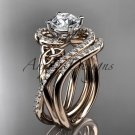 14kt rose gold diamond celtic trinity knot engagement set with a Moissanite center stone CT7320S