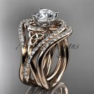 14kt rose gold diamond celtic trinity knot engagement ring with double matching band CT7320S