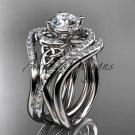 Platinum  diamond engagement ring,Moissanite,double matching band CT7320S