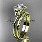14kt yellow gold celtic trinity knot wedding ring, engagement set CT7322S