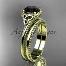 14kt yellow gold celtic trinity knot engagement set ,Black Diamond  CT7322S