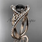 14kt rose gold diamond celtic trinity knot engagement ring with a Black Diamond center stone CT7369