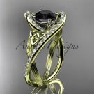 14k yellow gold diamond celtic trinity knot engagement ring with a Black Diamond center stone CT7369