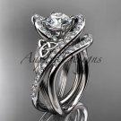Platinum diamond celtic trinity knot engagement set CT7369S