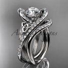 14kt white gold diamond celtic trinity knot engagement set with a Moissanite center stone CT7369S
