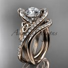 14kt rose gold diamond celtic trinity knot engagement set with a Moissanite center stone CT7369S
