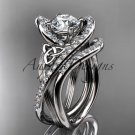 Platinum  diamond celtic trinity knot engagement set with a Moissanite center stone CT7369S