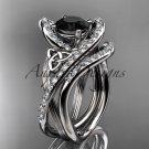 14kt white gold diamond celtic trinity knot engagement set with a Black Diamond center stone CT7369S