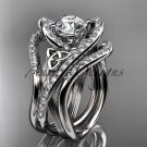 14kt white gold diamond celtic trinity knot wedding ring ,Moissanite , double matching band CT7369S