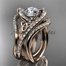 14kt rose gold diamond celtic trinity knot wedding ring ,Moissanite , double matching band CT7369S