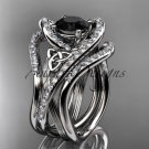 14kt white gold diamond celtic trinity knot wedding ring, Black Diamond,double matching band CT7369S
