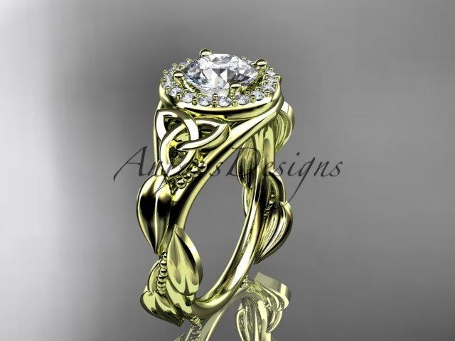 14kt yellow gold diamond celtic trinity knot engagement ring with a Moissanite center stone CT7327