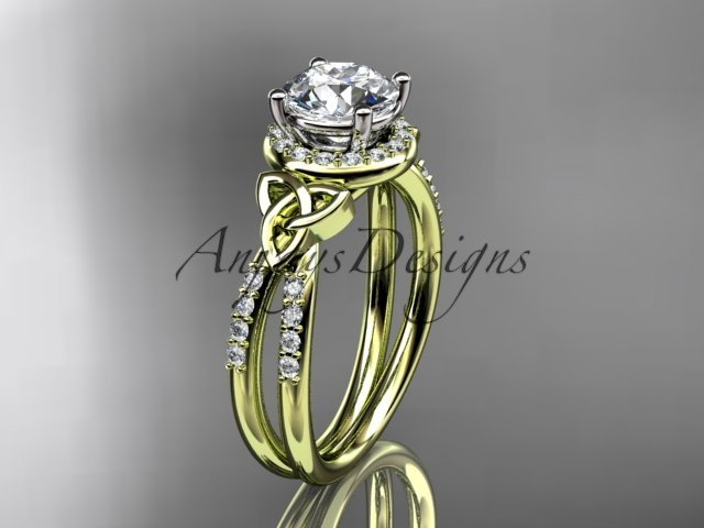 14kt yellow gold diamond celtic trinity knot engagement ring with a Moissanite center stone CT7373